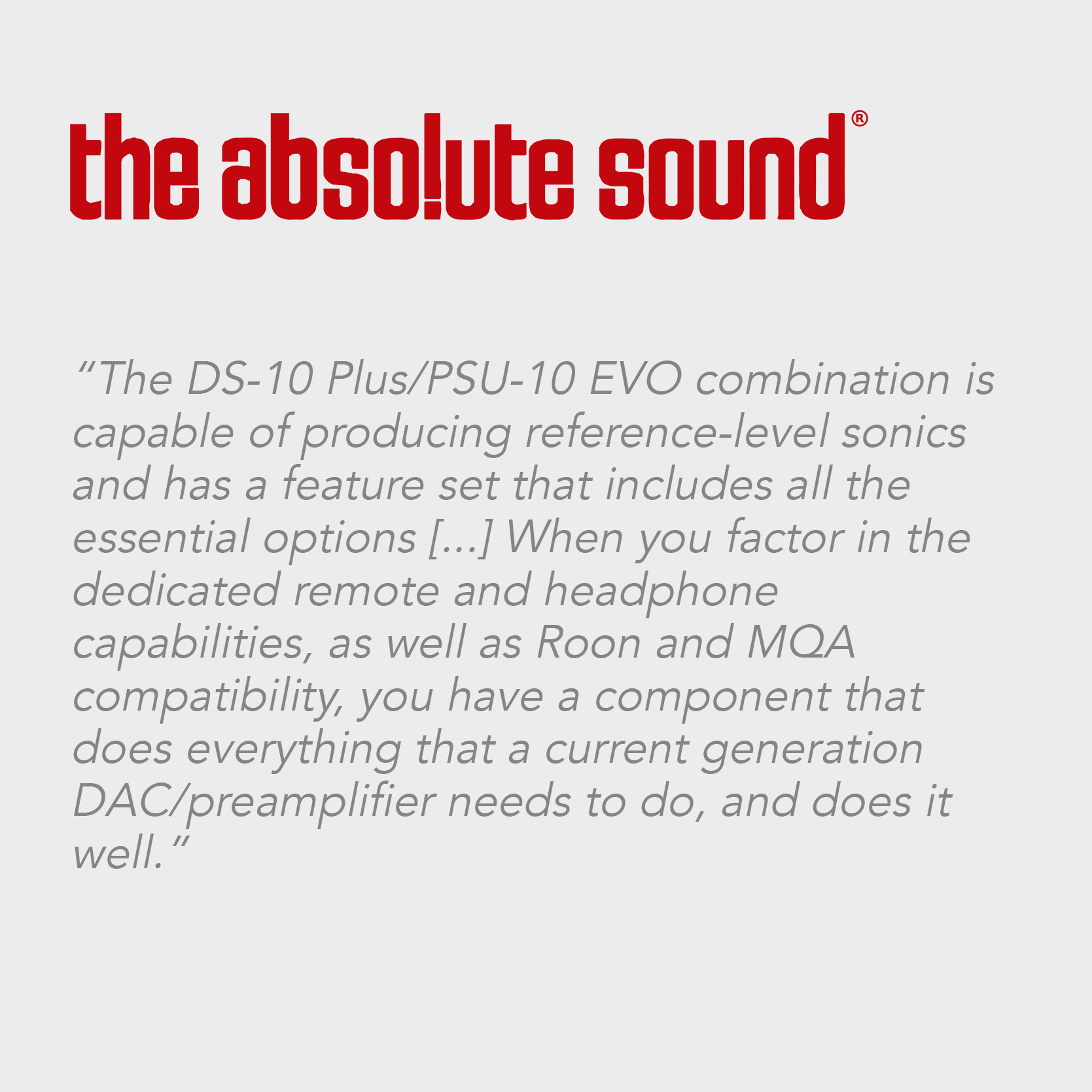 The Absolute Sound | DS-10 PLUS
